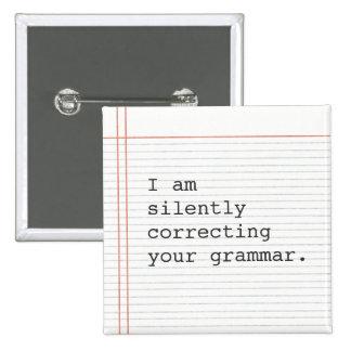Correction du bouton de grammaire, papier fait sur badge