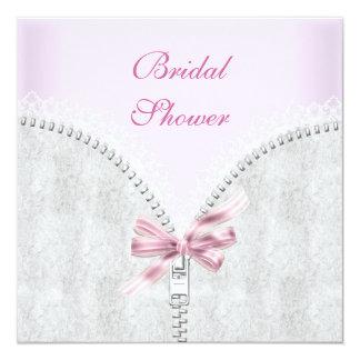 Corset blanc de dentelle de douche nuptiale rose carton d'invitation  13,33 cm