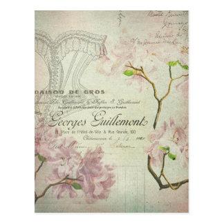Corset chic de manuscrit français minable vintage carte postale