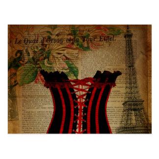 corset de cru de fleur de Tour Eiffel de Paris Carte Postale