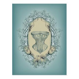 corset floral de cru de guirlande de victorian de cartes postales
