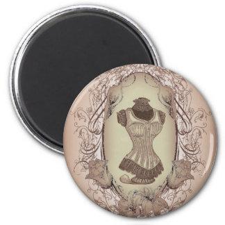 corset floral de cru de guirlande de victorian de magnet rond 8 cm