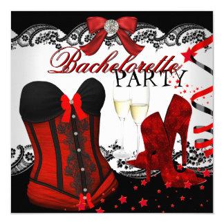 Corset rouge Champagne de dentelle de Bachelorette Carton D'invitation 13,33 Cm