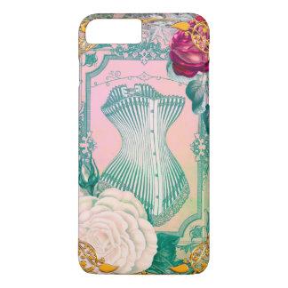 Corset victorien vintage et rose et bleu de roses coque iPhone 7 plus