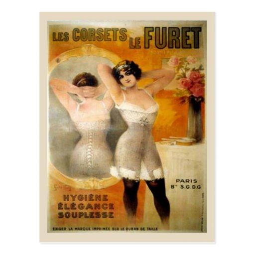 Corsets vintages, corets de Furet de Les Carte Postale