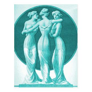 Corsets vintages, turquoise de trois grâces cartes postales