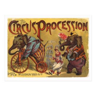 Cortège de cirque d'éléphants de Vntage Cartes Postales
