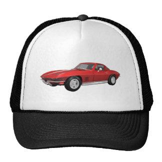 Corvette 1967 : Voiture de sport : Finition rouge  Casquettes