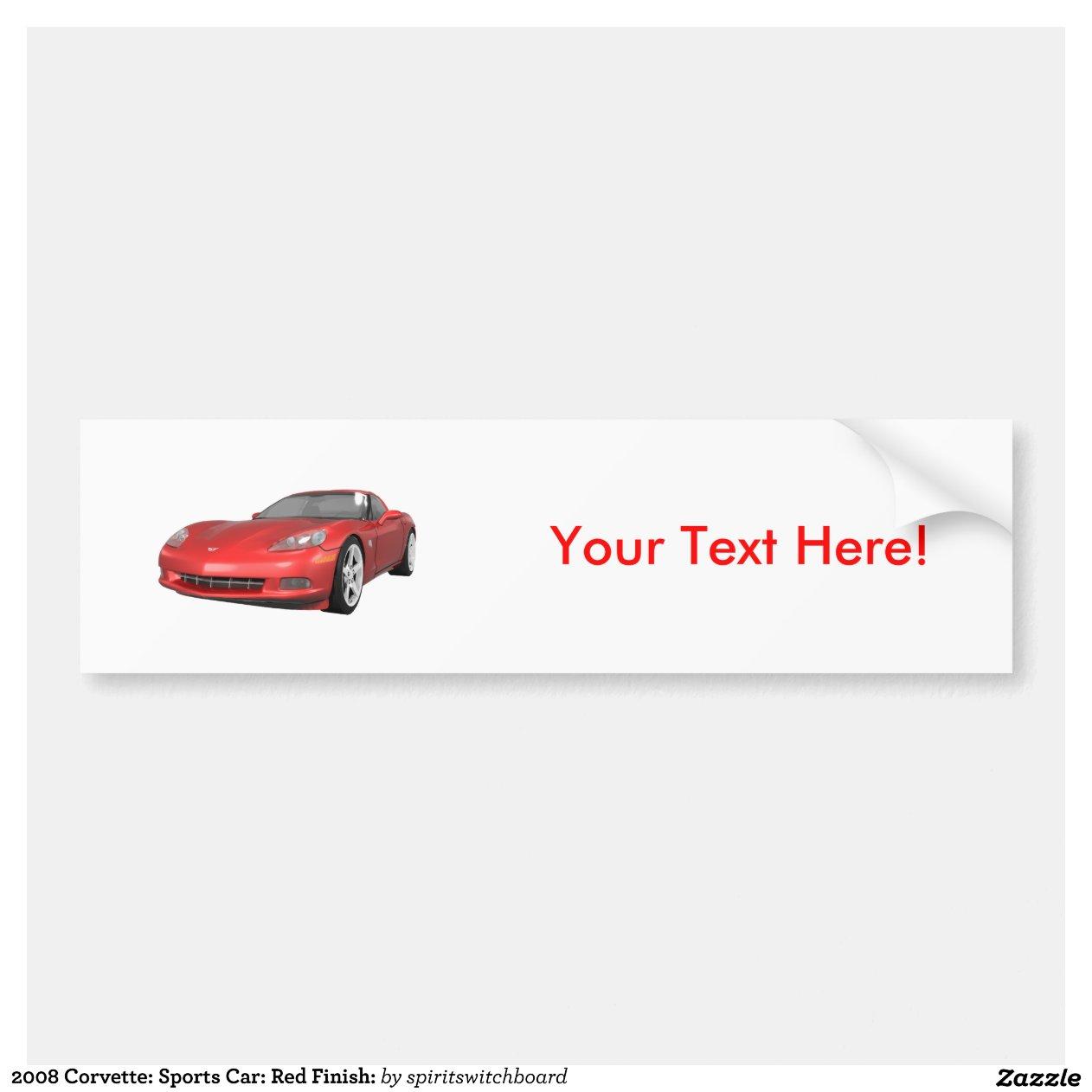 corvette 2008 voiture de sport finition rouge autocollant de voiture zazzle. Black Bedroom Furniture Sets. Home Design Ideas