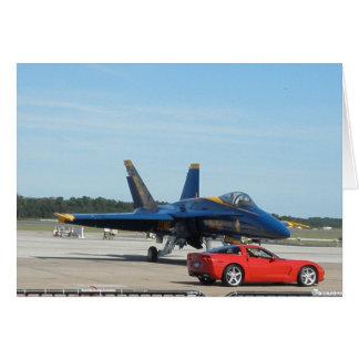Corvette rouge et angle bleu cartes de vœux
