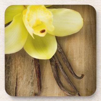 Cosses et fleur de vanille au-dessus d'arrière - p sous-bock