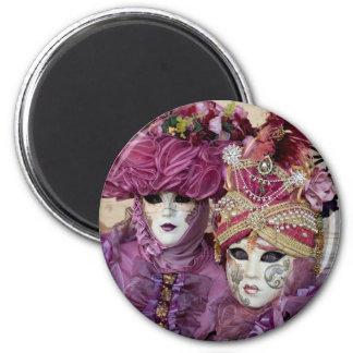 Costume pourpre de carnaval, Venise Magnet Rond 8 Cm