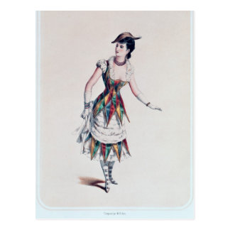 Costumez la conception pour un harlequin féminin, cartes postales