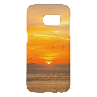 Côte de coucher du soleil avec Sun orange et Coque Samsung Galaxy S7