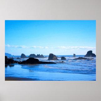 Côte Pacifique bleue Affiches