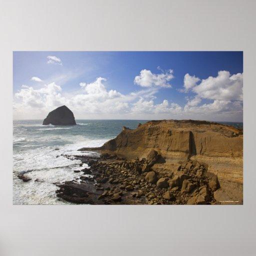 Côte Pacifique rocheuse de l'Orégon dans la ville  Poster