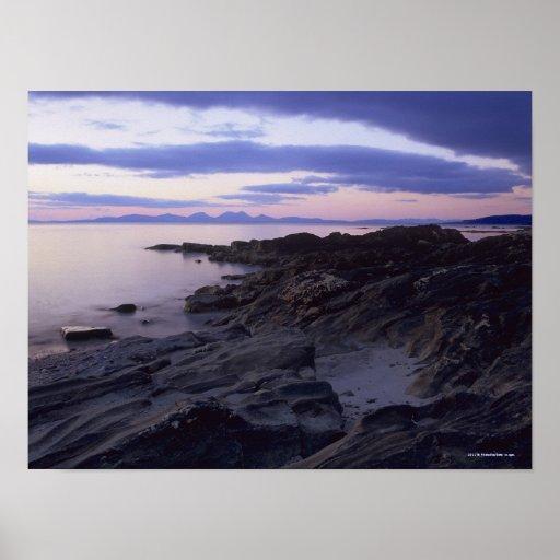 Côte rocheuse au coucher du soleil dans Kintyre, A Affiches