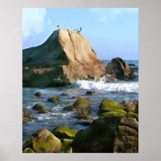 Côte rocheuse d'océan affiches