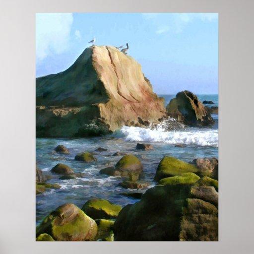 Côte rocheuse d'océan poster