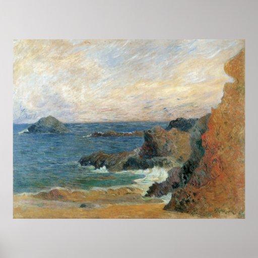 Côte rocheuse, Gauguin, post impressionnisme Poster
