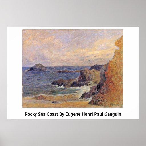 Côte rocheuse par Eugene Henri Paul Gauguin Posters