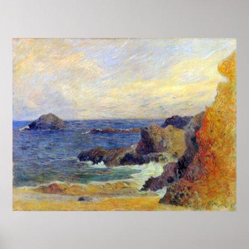 Côte rocheuse par Eugène Henri Paul Gauguin Posters