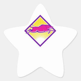 Côté sautant de balénoptère sauvage de porc sticker en étoile
