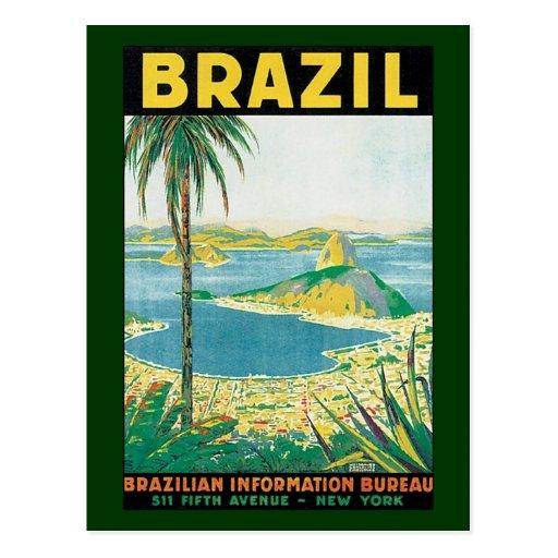 Côte vintage de plage de voyage, Rio de Janeiro Br Cartes Postales