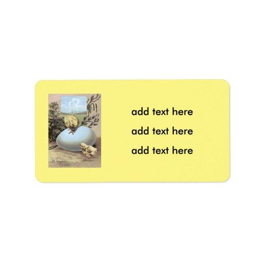 Coton d'oeufs de poussin de Pâques Étiquette D'adresse