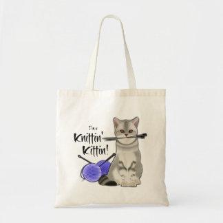 Coton fourre-tout de sac de tricot de chat avec