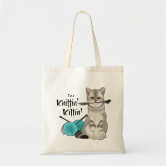 Coton fourre-tout de sac de tricot de chat avec la