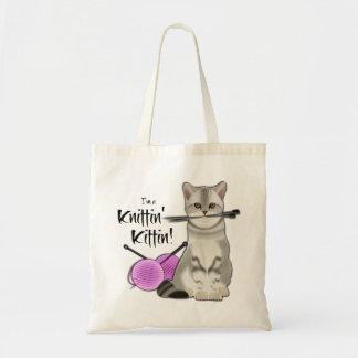 Coton fourre-tout de sac de tricot de chat avec le
