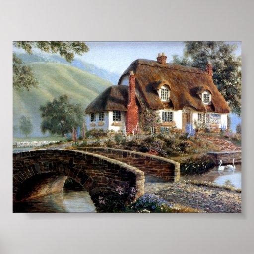 cottage anglais dans la campagne affiche zazzle. Black Bedroom Furniture Sets. Home Design Ideas