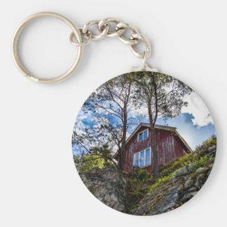 Cottage de montagne porte-clé rond