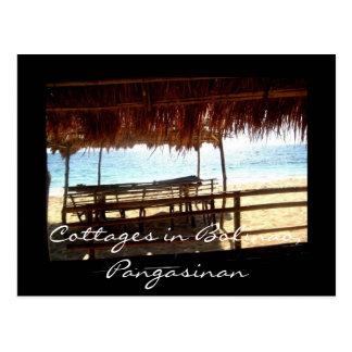 Cottages dans Bolinao, carte postale de Pangasinan