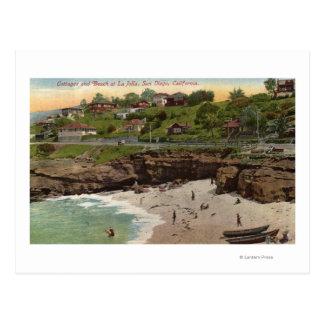 Cottages et plage à La Jolla Cartes Postales