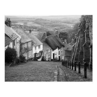 Cottages sur une colline d'or, Shaftesbury, Dorset Carte Postale