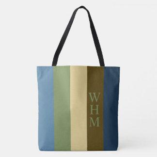 Couche-culotte couvrante de monogramme de rayure tote bag