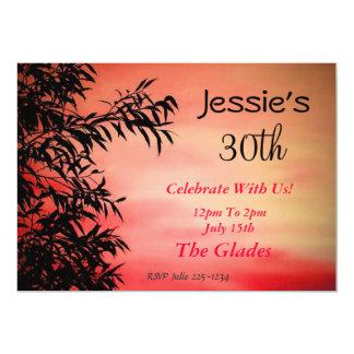 Coucher de soleil carton d'invitation  12,7 cm x 17,78 cm