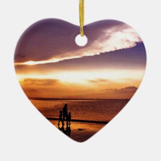 coucher du soleil 2 ornement cœur en céramique