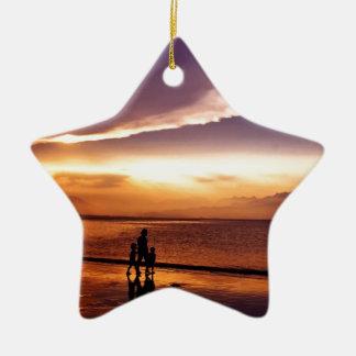 coucher du soleil 2 ornement étoile en céramique