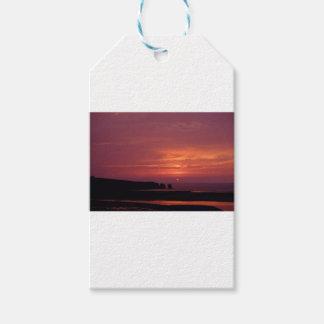 coucher du soleil 3 étiquettes-cadeau