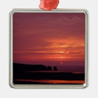 coucher du soleil 3 ornement carré argenté