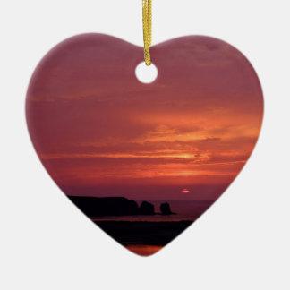 coucher du soleil 3 ornement cœur en céramique