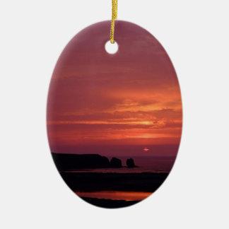 coucher du soleil 3 ornement ovale en céramique