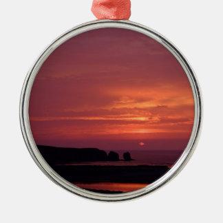 coucher du soleil 3 ornement rond argenté