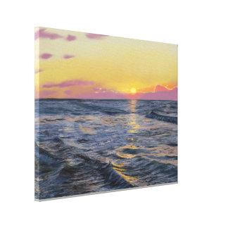 Coucher du soleil à la copie de toile enveloppée