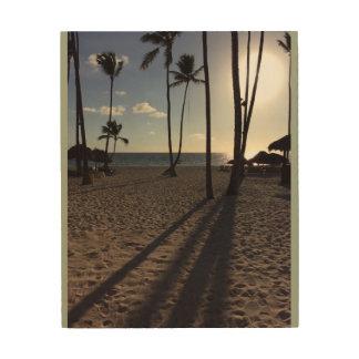 Coucher du soleil à la plage impression sur bois