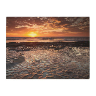 Coucher du soleil à la plage, la Californie Impression Sur Bois