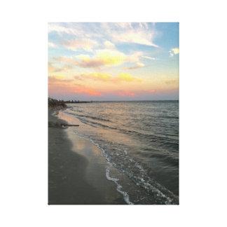 Coucher du soleil à la plage toile